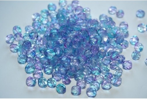 Fire Polished Beads 6mm, 30pz, Dual Coated-Pink Blue Col.K3217