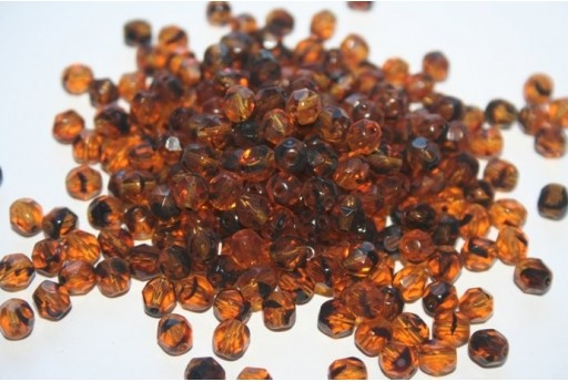 Fire Polished Beads 6mm, 30pz, Tortoise Col.18016
