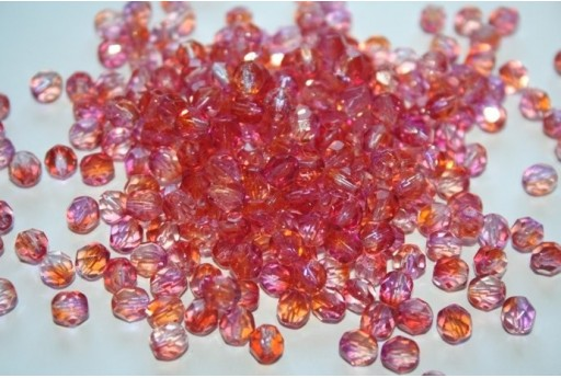 Fire Polished Beads 6mm, 30pz, Dual Coated-Fuchsia/Cantaloupe Col.K3911