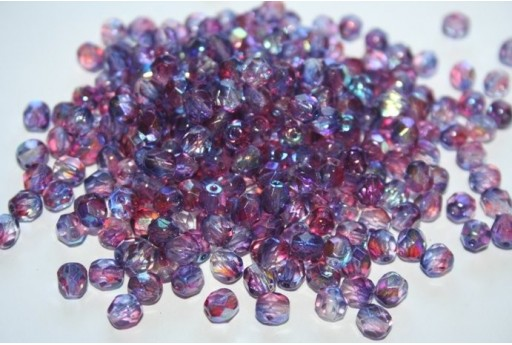 Fire Polished Beads 6mm, 30pz, Dual Coated-Pink/Blue AB Col.K4311