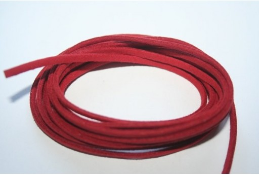 Suede Alcantara Cord 3x1,5mm Red - 2m