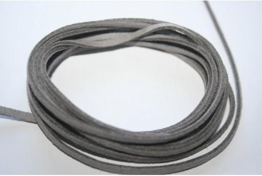 Suede Alcantara Cord 3x1,5mm Grey- 2m