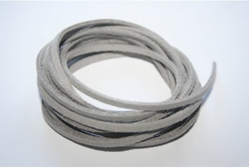 Suede Alcantara Cord 3x1,5mm Light Grey - 2m