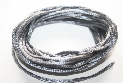 Satin Rattail Cord 2mm Grey - 5m
