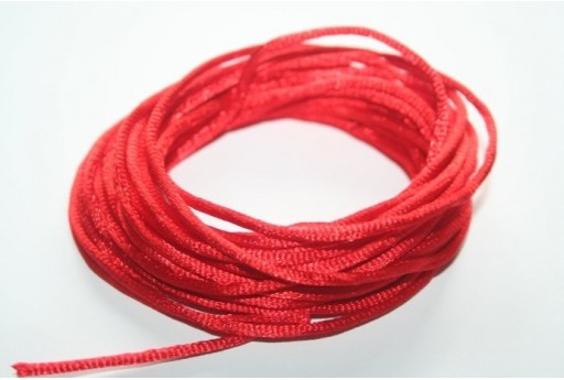 Satin Rattail Cord 2mm Red - 5m