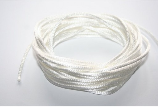 Satin Rattail Cord 2mm White - 5m