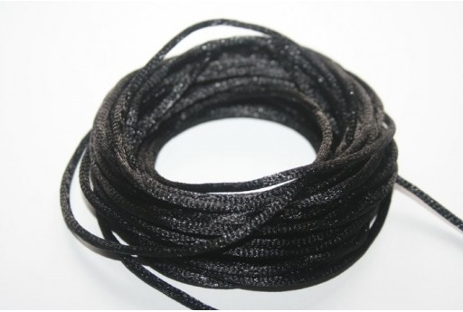 Satin Rattail Cord 2mm Black- 5m