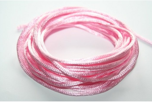 Satin Rattail Cord 2mm Pink - 5m