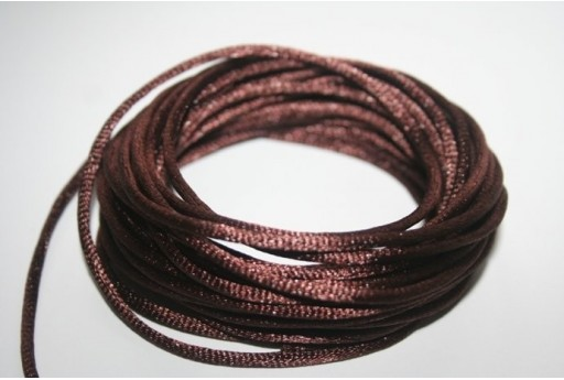 Satin Rattail Cord 2mm Brown - 5m