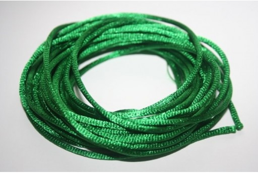 Satin Rattail Cord 2mm Green - 5m