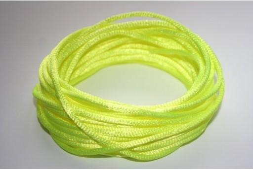 Satin Rattail Cord 2mm Neon Yellow - 5m
