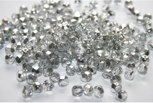 Fire Polished Beads 6mm, 30pz, Silver 1/2 Coated Crystal Col.S00030