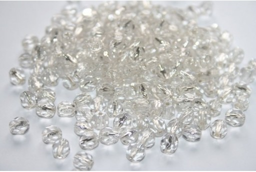 Fire Polished Beads 6mm, 30pz, Silver Lined-Crystal Col.SL00030