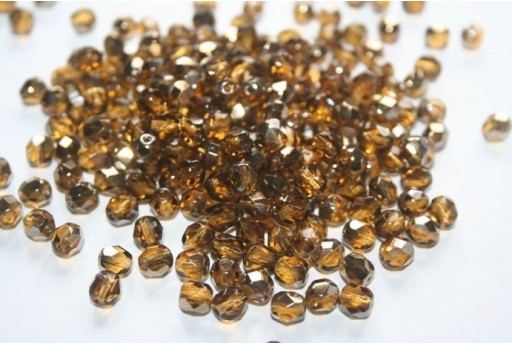 Fire Polished Beads Bronze Iris Medium Topaz 6mm - 30pz