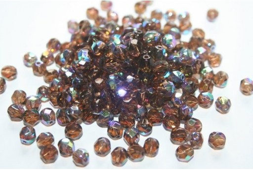 Fire Polished Beads 6mm, 30pz, Smoky Topaz AB Col.X10220
