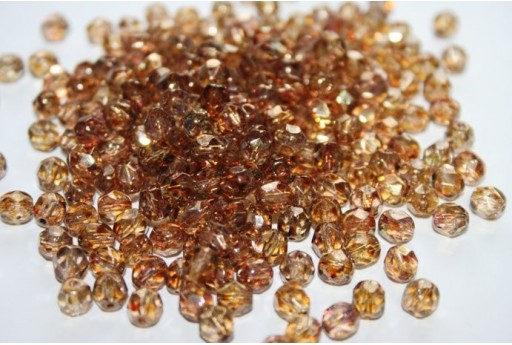 Perline Mezzi Cristalli 6mm, 30pz, Luster Transparent Gold/Smoky Topaz Col.LG00030