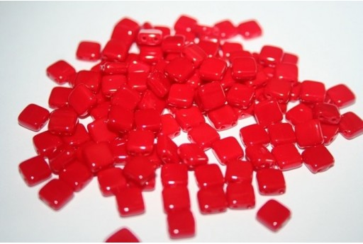 Tile Beads 6mm, 50Pz., Opaque Red Col.93200