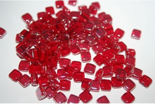 Tile Beads 6mm, 50Pz., Celsian-Siam Ruby Col.Z90080