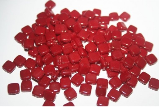 Tile Beads 6mm, 50Pz., Opaque Dark Red Col.93300