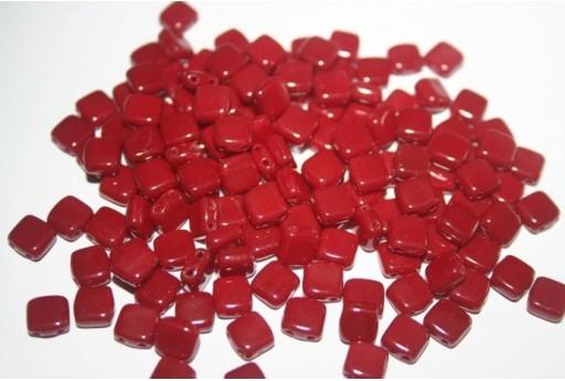 Perline Tile 6mm, 50Pz., Opaque Dark Red Col.93300