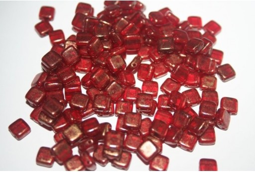 Tile Beads 6mm, 50Pz., Gold Marbled-Ruby Col.GM90100