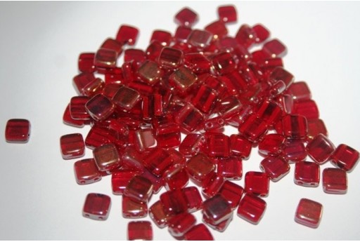 Tile Beads 6mm, 50Pz., Twilight-Siam Ruby Col.W90080