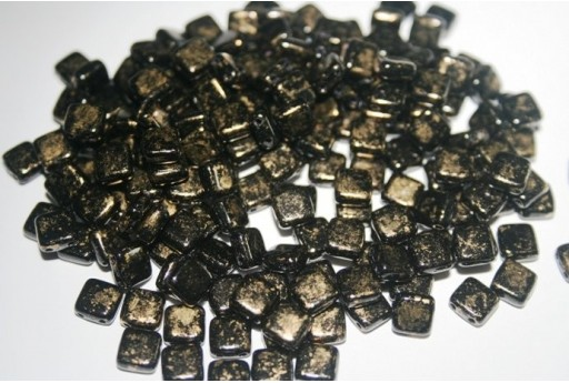 Tile Beads 6mm, 50Pz., Gold Marbled-Jet Col.GM23980