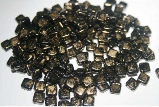 Perline Tile 6mm, 50Pz., Gold Marbled-Jet Col.GM23980