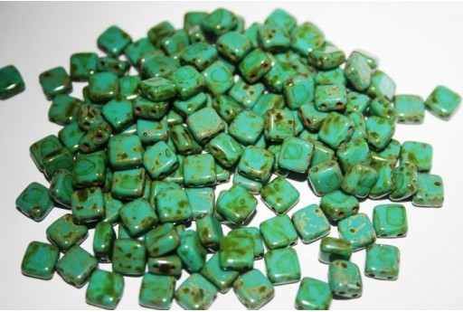 Tile Beads 6mm, 50Pz., Picasso-Persian Turquoise Col.T63150