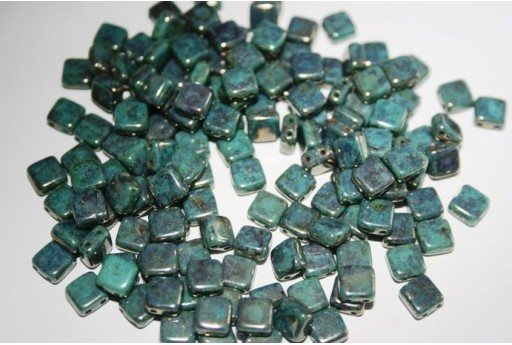 Tile Beads 6mm, 50Pz., Luster-Transparent Gold Turquoise Col.LG63140