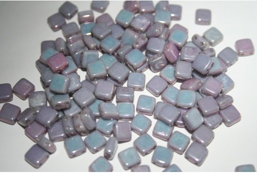 Tile Beads 6mm, 50Pz., Luster-Metalic Amethyst Col.LE02010