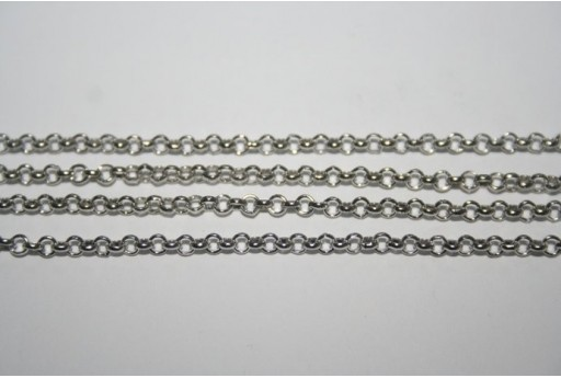 Platinum Plated Rolo Chain 2,5mm - 2mt