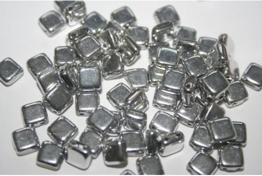 Perline Tile 6mm, 50Pz., Silver Col.S00030