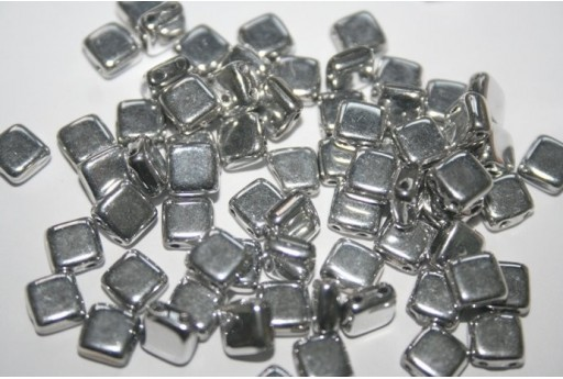 Tile Beads 6mm, 50Pz., Silver Col.S00030