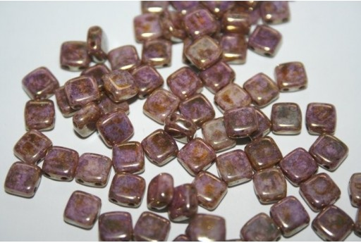 Tile Beads 6mm, 50Pz., Luster-Transparent Gold/Alabaster Col.LG02010