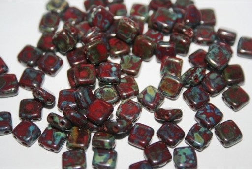Tile Beads 6mm, 50Pz., Picasso-Opaque Red Col.T93300