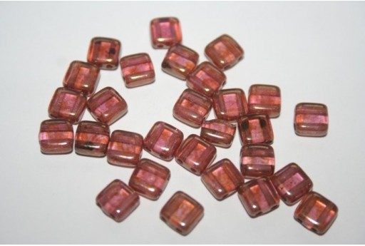 Tile Beads 6mm, 50Pz., Luster Rose/Gold Topaz Col.AK00030