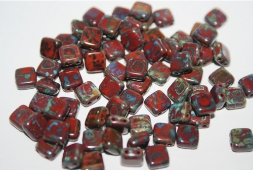 Tile Beads 6mm, 50Pz., Picasso-Umber Col.T13600