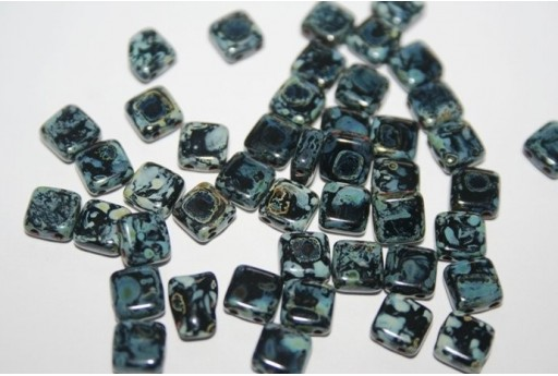 Tile Beads 6mm, 50Pz., Picasso-Jet Col.T23980