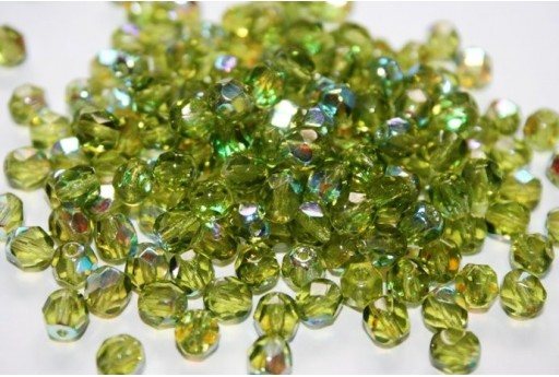 Fire Polished Beads 6mm, 30pz, Olivine AB Col.X50230