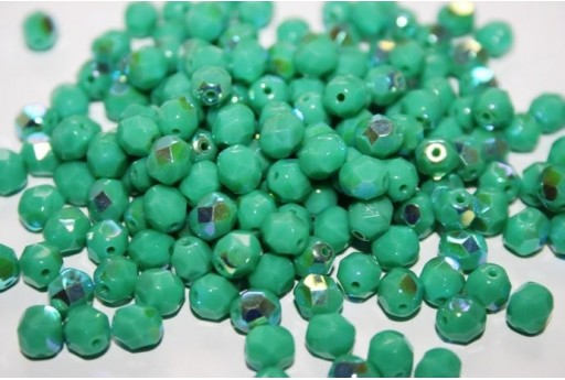 Fire Polished Beads 6mm, 30pz, Opaque-Turquoise AB Col.X63130