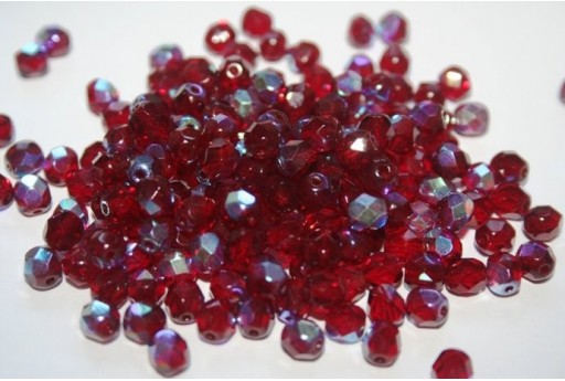 Fire Polished Beads 6mm, 30pz, Ruby AB Col.X90100