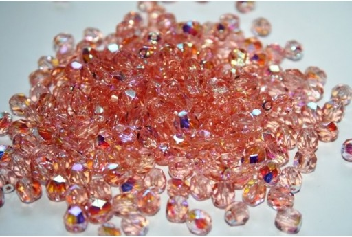 Fire Polished Beads 6mm, 30pz, Rosaline AB Col.X70100