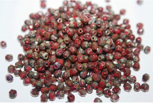 Fire Polished Beads Opaque Red Picasso 4mm - 60pz