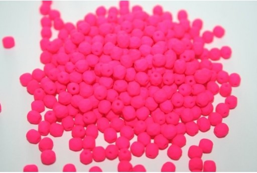 Fire Polished Beads Neon-Pink 4mm - 60pz