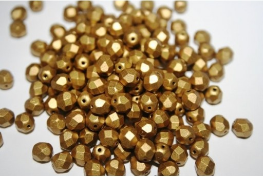 Perline Mezzi Cristalli 6mm, 30pz, Matte Metallic Aztec Gold Col.K0172JT