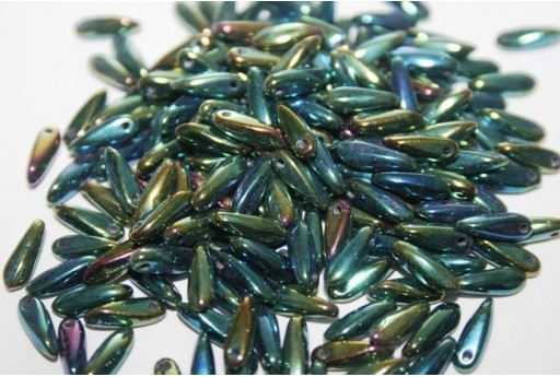 Perline Dagger Iris Green 3x10mm - 10gr