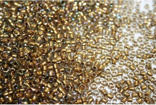 Perline Toho Round Rocailles 8/0, 10gr., Inside-Color Crystal/Gold Lined Col.262