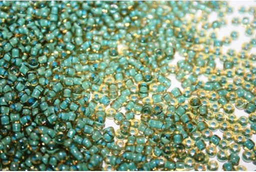 Perline Toho Round Rocailles 8/0, 10gr., Inside-Color Rainbow Lt Topaz/Sea Foam Lined Col.952