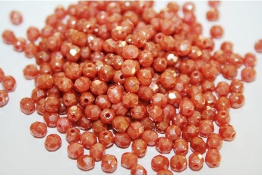 Fire Polished Beads Luster-Pink Coral 4mm - 60pz